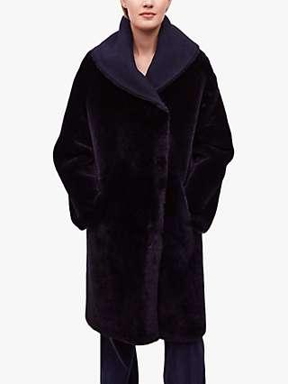 Gerard Darel Manelle Faux Fur Coat, Blue