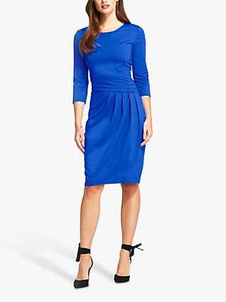 HotSquash Pleated Waist Knee Length Dress, Midnight Blue