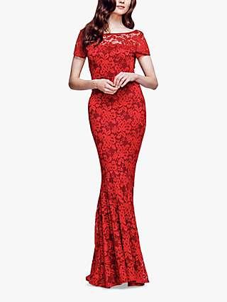 HotSquash Long Lace Maxi Dress, Red