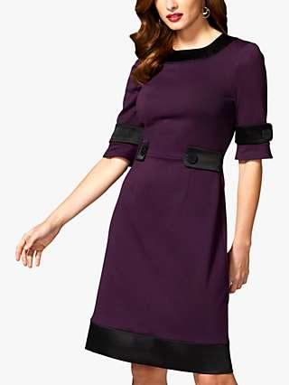 HotSquash Contrast Trim Pencil Dress, Damson/Black