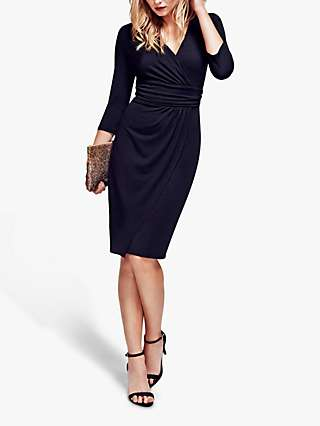HotSquash Ascot Knee Length Mock-Wrap Dress, Black