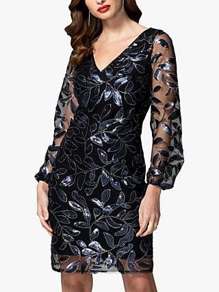 HotSquash Sequin Leaf Embroidery Shift Dress, Black