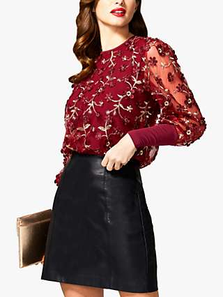 HotSquash Floral Embroidered Top, Wine