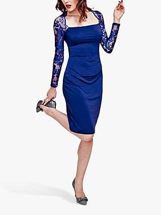 HotSquash Lace Sleeve Hostess Dress, Royal Blue