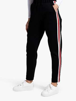HotSquash Ponte Stripe Detail Trousers, Black/Red