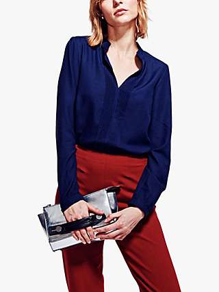 HotSquash Pleated Front Blouse, Navy