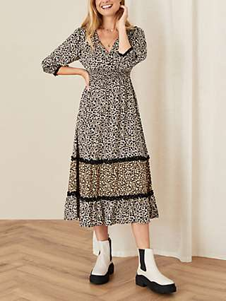 Monsoon Floral Print V-Neck Midi Dress, Black Multi