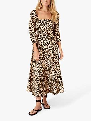 Monsoon Angelina Animal Print Square Neck Maxi Dress, Camel