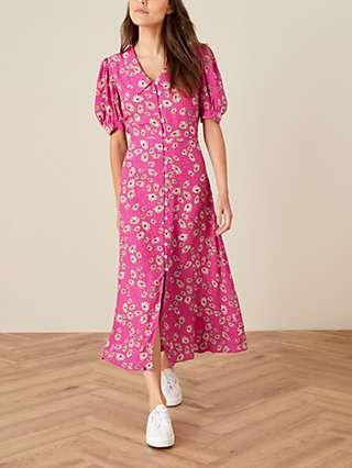 Monsoon Sonya Floral Print Shirt Midi Dress, Pink