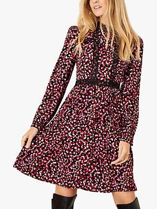 Monsoon Spot Print Lace Trim Dress, Pink