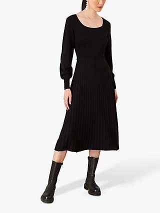 Monsoon Square Neck Pleat Midi Dress, Black