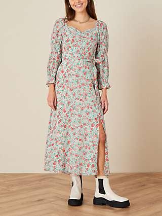 Monsoon Hattie Floral Print Midi Dress, Multi