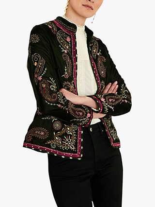 Monsoon Velvet Embroidered Jacket, Green