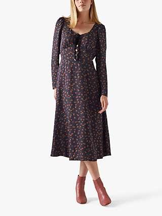 L.K.Bennett Annis Floral Print Midi Dress, Navy