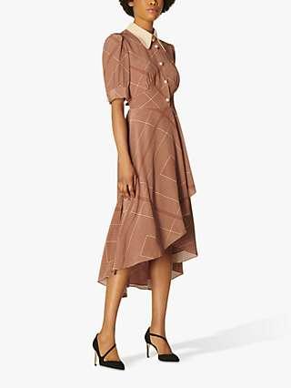 L.K.Bennett Arabella Geometric Print Silk Midi Dress, Tobacco