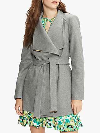 Ted Baker Rosses Wool Wrap Short Coat, Grey