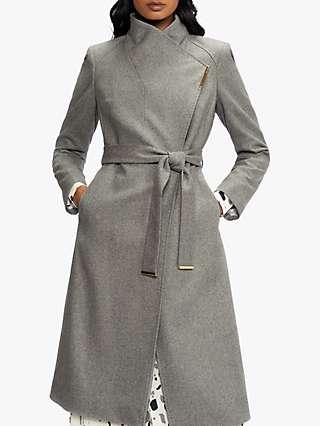 Ted Baker Rose Wool Wrap Mid Coat, Grey