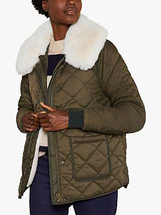 Boden Hollie Faux Fur Collar Quilted Jacket, Khaki