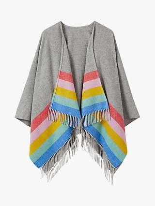Boden Rainbow Stripe Wool Cape, Grey/Multi