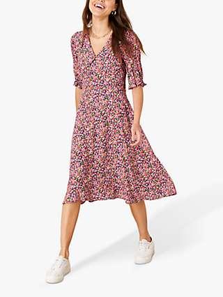Monsoon Jolene Floral Print Midi Dress, Multi