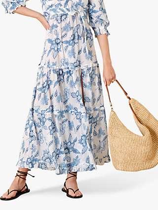 Monsoon Roxanna Floral Print Kaftan Maxi Dress, Blue/Multi