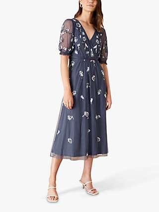 Monsoon Mellie Embellished Midi Dress, Charcoal