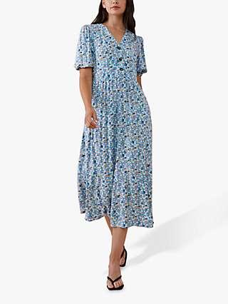 Finery Aisla Floral Print Midi Dress, Blue
