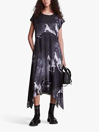 AllSaints Gianna Horse Print Silk Blend Dress, Black