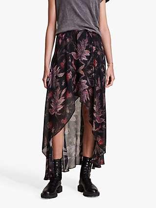AllSaints Slvina Harris Floral Print Maxi Skirt, Black
