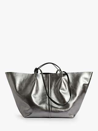 AllSaints Nadaline East to West Metallic Leather Tote Bag, Gunmetal