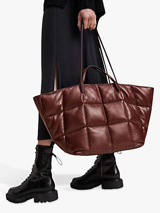 AllSaints Nadaline East to West Quilted Leather Tote Bag