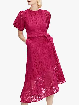 Ted Baker Puff Sleeve Broderie Cotton Midi Dress