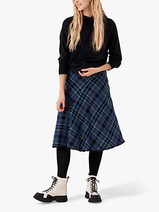 Brora Scottish Tweed Wool Blend Midi Skirt