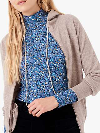 Brora Liberty Floral Jersey Turtle Neck Top, Blue
