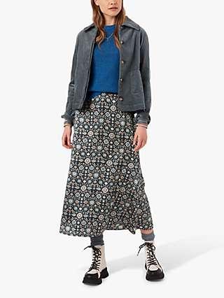 Brora Liberty Mosaic Print Silk Satin Midi Skirt, Black/Multi