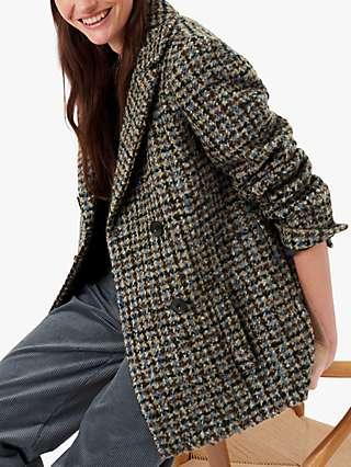 Brora Wool Blend Booucle Pea Coat, Oatmeal/Sky