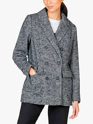 Thought Adela Recycled Wool Double Breasted Coat, Black