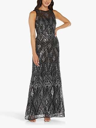 Adrianna Papell Geo Sequin Maxi Dress, Black