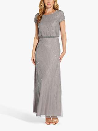 Adrianna Papell Long Beaded Dress, Pewter/Silver