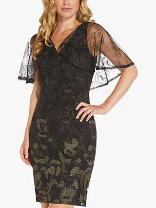 Adrianna Papell Embroidered Capelet Dress, Black/Gold
