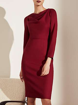 The Fold Cadogan Tailored Wool Crepe Dress, Cranberry