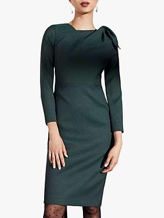 The Fold Melrose Jacquard Tailored Dress, Green