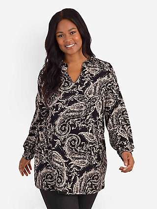 LIVE by Live Unlimited Curve Paisley Print Sustain Long Tunic Top, Black