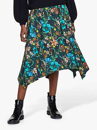 Thought Artistry Floral Midi Skirt, Multi