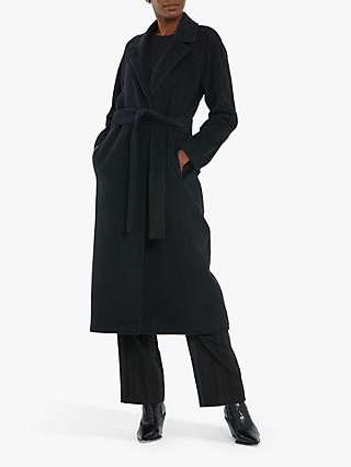 Helen McAlinden Michelle Wool Cashmere Blend Longline Coat, Charcoal