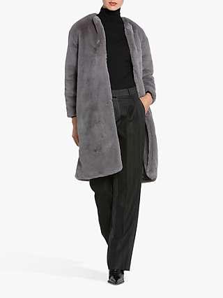 Helen McAlinden Teddy Faux Fur Coat, Grey