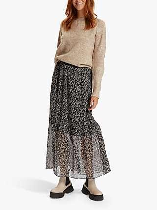 Saint Tropez Valerie Floral Print Maxi Skirt, Black