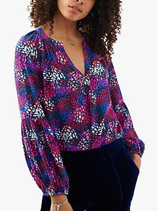 NRBY Ophelia Dapple Print Silk Blouse, Multi