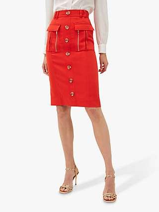 Damsel in a Dress Athena Pocket Pencil Skirt, Orange