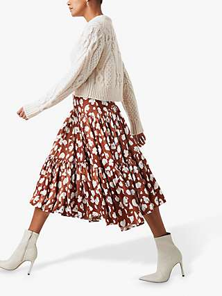 French Connection Aimee Abstract Print Tiered Midi Skirt, Brown Patina/Cream